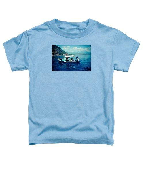 Boat And Sapfir Sea Seascape Artmif Toddler T-Shirt