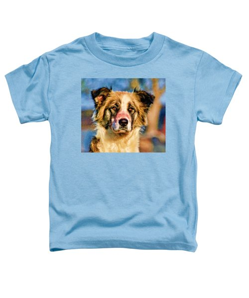 Buster Dog Viewing The Sunset Toddler T-Shirt by Lucky Chen