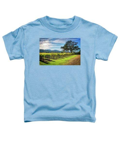 California Wine County - Sonoma Vineyard And Lone Oak Tree Toddler T-Shirt