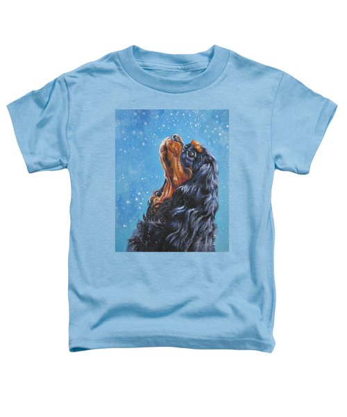 Cavalier King Charles Spaniel Black And Tan In Snow Toddler T-Shirt