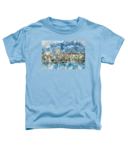 City Of Split In Croatia With Birds Flying In The Sky Toddler T-Shirt