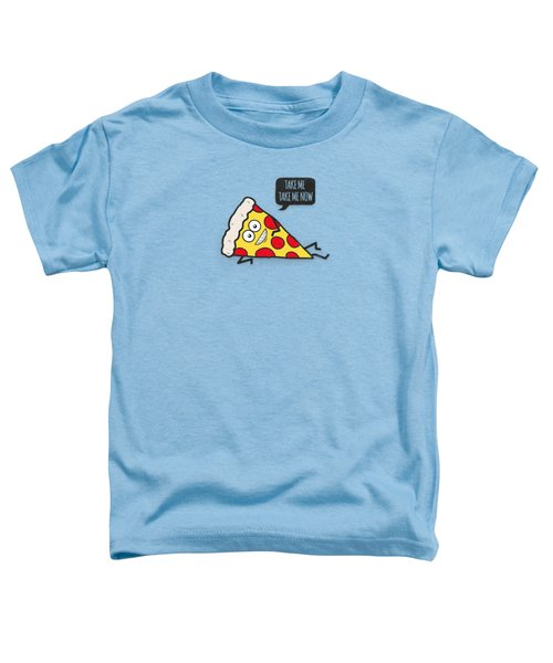 Cool And Trendy Pizza Pattern In Super Acid Green   Turquoise   Blue Toddler T-Shirt