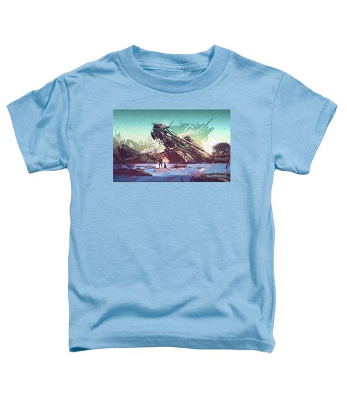 Toddler T-Shirt featuring the painting Derelict Ship by Tithi Luadthong