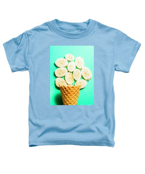 Dessert Concept Of Ice-cream Cone And Banana Slices Toddler T-Shirt