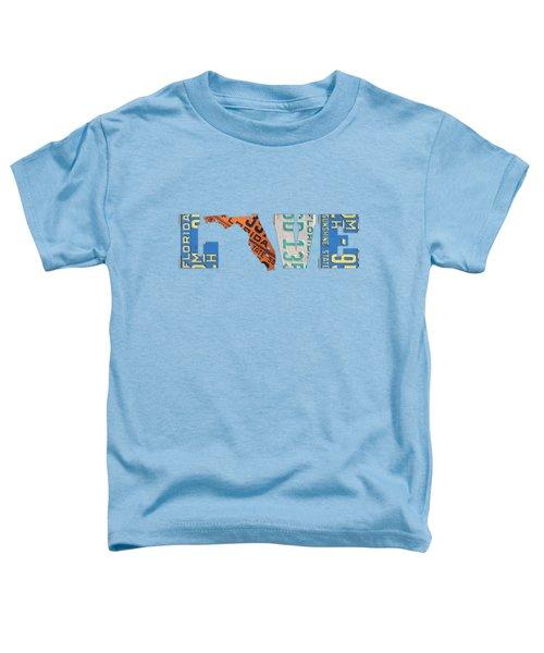 Florida State Love Heart License Plates Art Phrase Toddler T-Shirt
