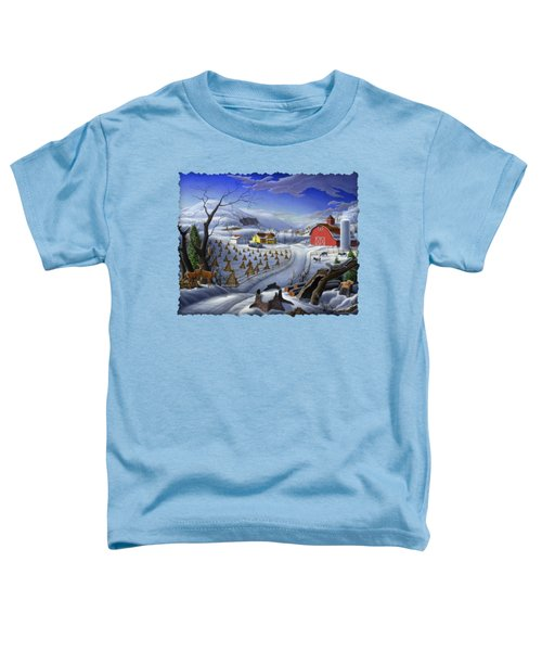 Folk Art Winter Landscape Toddler T-Shirt by Walt Curlee