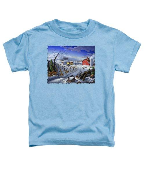 Folk Art Winter Landscape Toddler T-Shirt