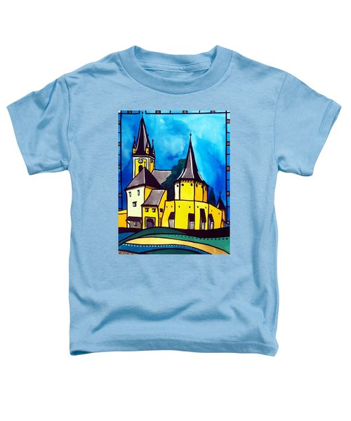 Toddler T-Shirt featuring the painting Fortified Medieval Church In Transylvania By Dora Hathazi Mendes by Dora Hathazi Mendes