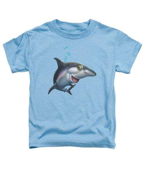 friendly Shark Cartoony cartoon under sea ocean underwater scene art print blue grey  Toddler T-Shirt