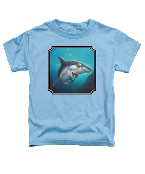 Friendly Shark Cartoony Cartoon - Under Sea - Square Format Toddler T-Shirt by Walt Curlee