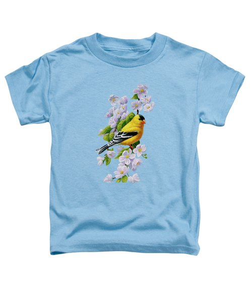 Goldfinch Blossoms Greeting Card 1 Toddler T-Shirt by Crista Forest