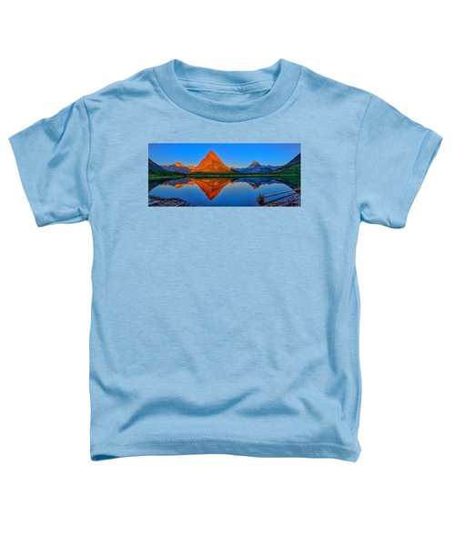 Toddler T-Shirt featuring the photograph Grinnell Point Alpenglow Panorama by Greg Norrell