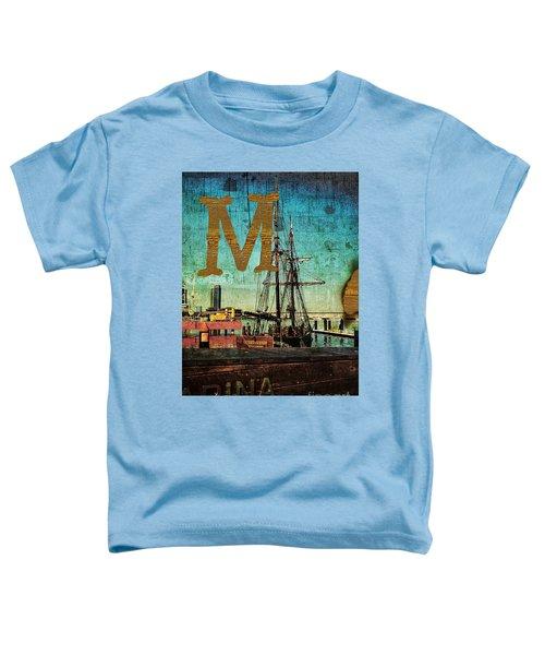 Grungy Melbourne Australia Alphabet Series Letter M Marina Dockl Toddler T-Shirt