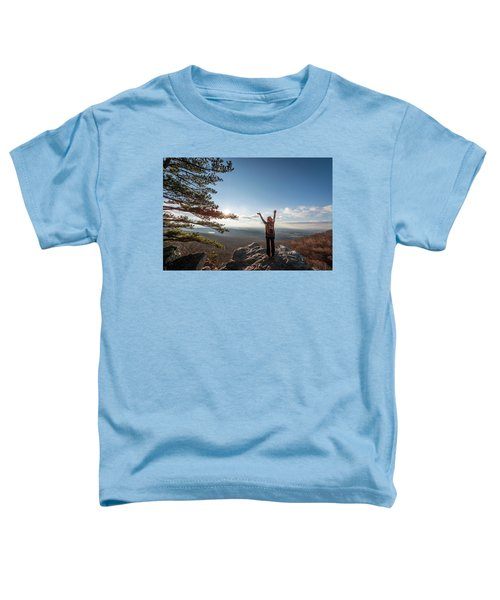 Happy Female Hiker At The Summit Of An Appalachian Mountain Toddler T-Shirt