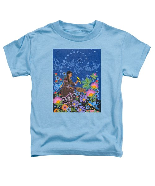 Toddler T-Shirt featuring the painting Hole In The Sky's Daughter by Chholing Taha