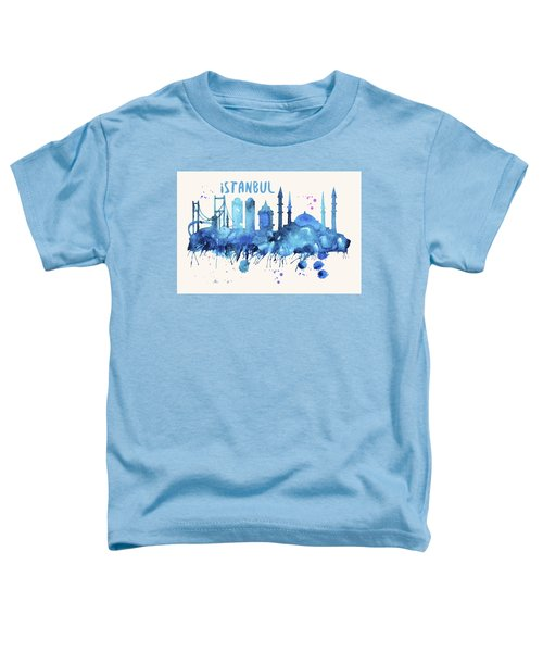 Istanbul Skyline Watercolor Poster - Cityscape Painting Artwork Toddler T-Shirt