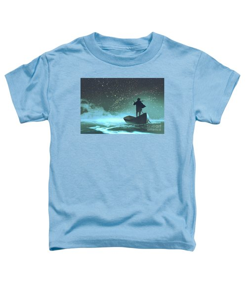 Toddler T-Shirt featuring the painting Journey To The New World by Tithi Luadthong