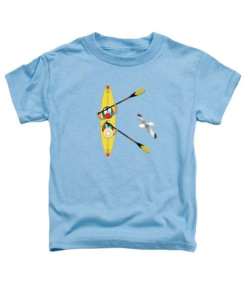 K Is For Kayak And Kittiwake Toddler T-Shirt by Valerie Drake Lesiak