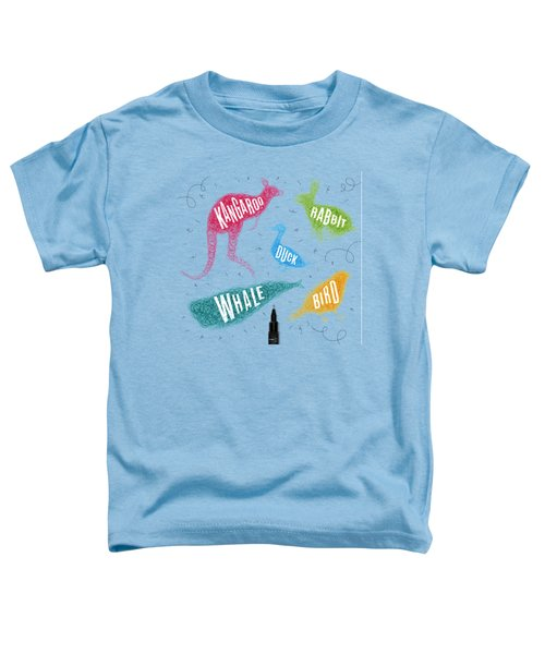 Kangaroo - Rabbit - Duck - Whale - Bird In Colors Toddler T-Shirt by Aloke Creative Store