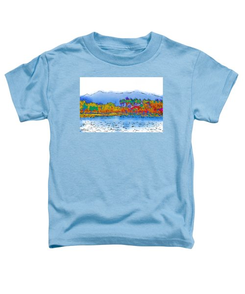 Lake, Palms And Mountains In Subtle Abstract Toddler T-Shirt