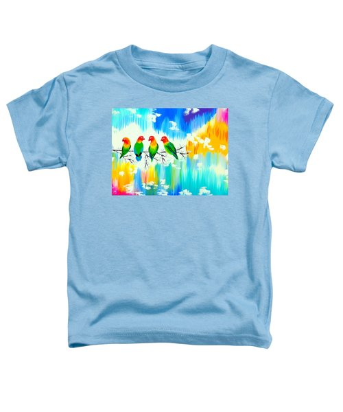 Lovebirds On A Branch Toddler T-Shirt by Cathy Jacobs