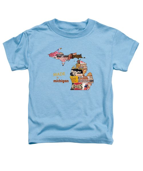 Made In Michigan Products Vintage Map On Wood Toddler T-Shirt by Design Turnpike