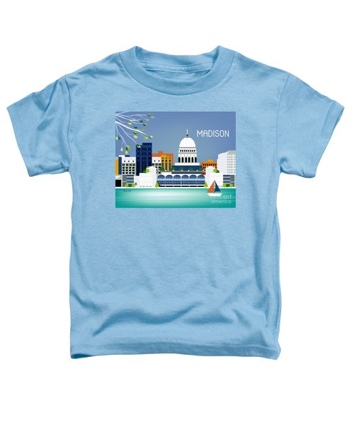 Madison Wisconsin Horizontal Skyline Toddler T-Shirt