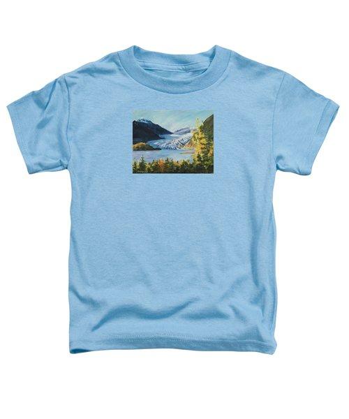Toddler T-Shirt featuring the painting Mendenhall Glacier Juneau Alaska by Yulia Kazansky