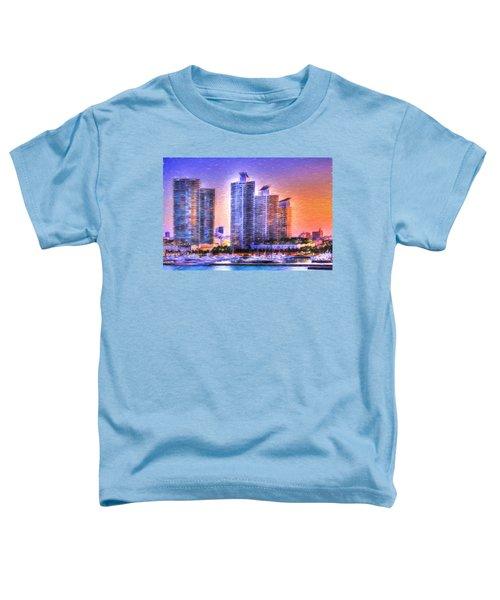 Miami Skyline Sunrise Toddler T-Shirt