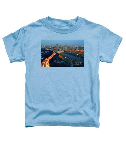 Modern Sao Paulo Skyline - Cidade Jardim And Marginal Pinheiros Toddler T-Shirt