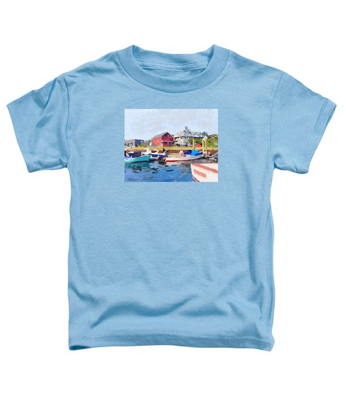 North Shore Art Association At Pirates Lane On Reed's Wharf From Beacon Marine Basin Toddler T-Shirt by Melissa Abbott