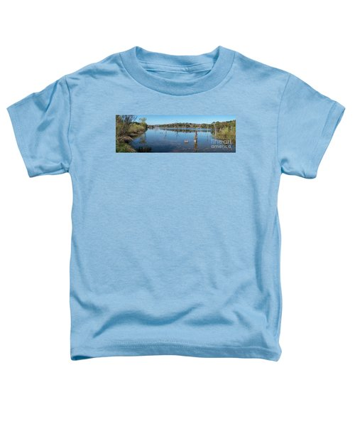 Panoramic View Of Large Lake With Grass On The Shore Toddler T-Shirt