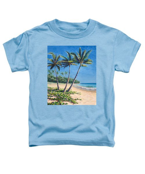 Tropical Paradise Landscape - Hawaii Beach And Palms Painting Toddler T-Shirt
