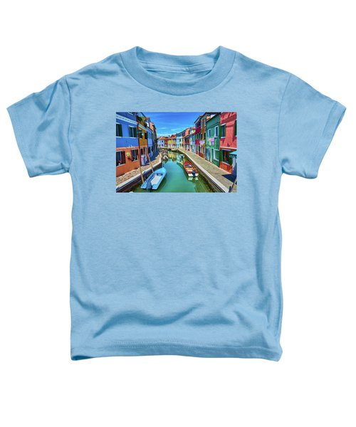 Picturesque Buildings And Boats In Burano Toddler T-Shirt