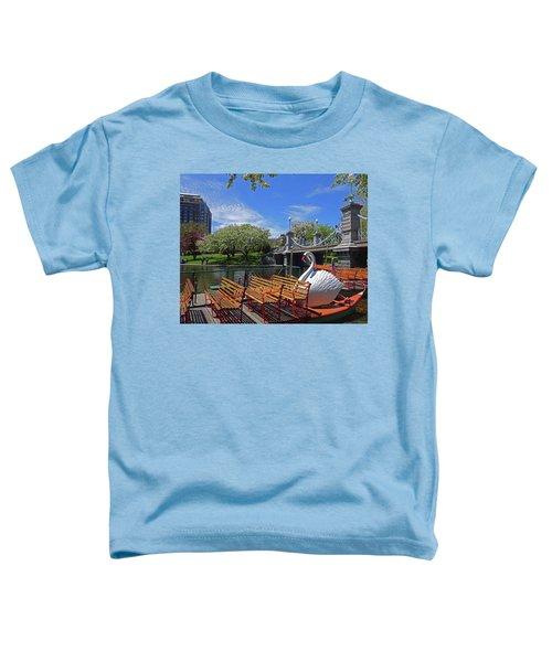 Public Garden Swan Boat In The Spring Boston Ma Toddler T-Shirt