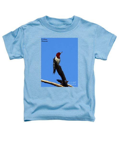 Red Headed Woodpecker On A Snag Toddler T-Shirt