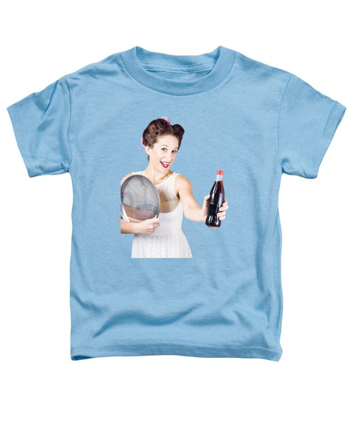 Retro Pin-up Girl Giving Bottle Of Soft Drink Toddler T-Shirt by Jorgo Photography - Wall Art Gallery