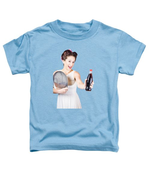 Retro Pin-up Girl Giving Bottle Of Soft Drink Toddler T-Shirt