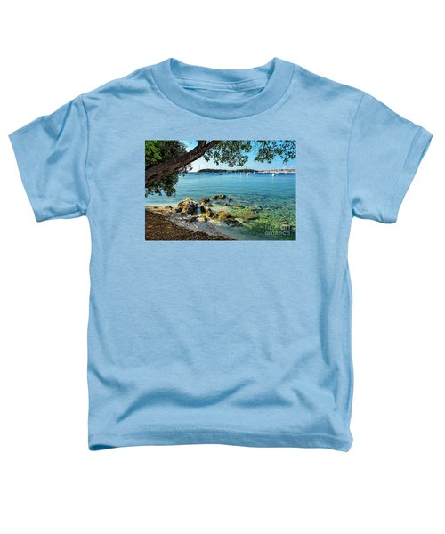 Rovinj Old Town, Harbor And Sailboats Accross The Adriatic Through The Trees Toddler T-Shirt