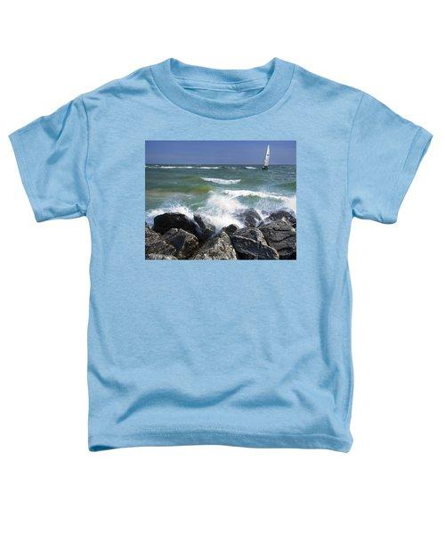 Sailboat Sailing Off The Shore At Ottawa Beach State Park Toddler T-Shirt