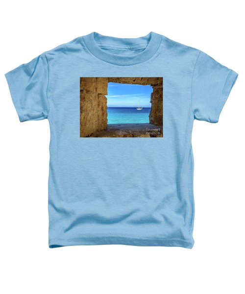 Sailboat Through The Old Stone Walls Of Rhodes, Greece Toddler T-Shirt