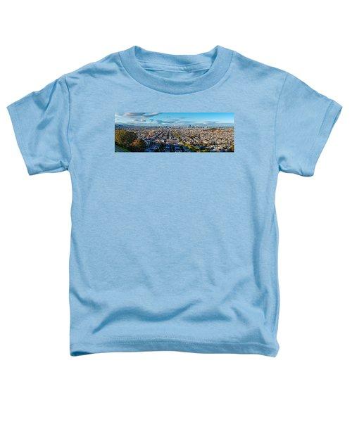San Francisco Skyline From Bernal Heights Park At Sunset - San Francisco California Toddler T-Shirt