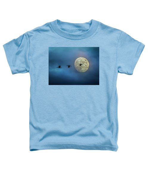 Sandhill Cranes With Full Moon Toddler T-Shirt