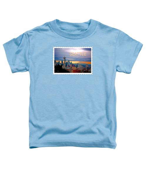 Seattle At Sunset Text Seattle Toddler T-Shirt by Elaine Plesser