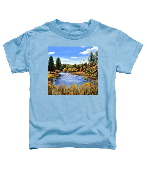Toddler T-Shirt featuring the painting Seeley Montana Fall by Susan Kinney