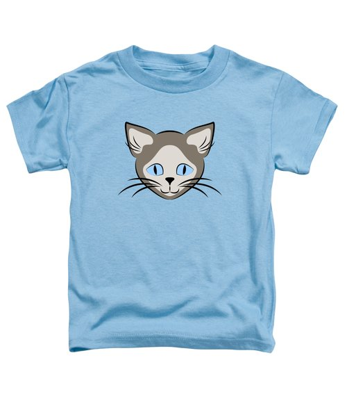 Siamese Cat Face With Blue Eyes Dark Toddler T-Shirt