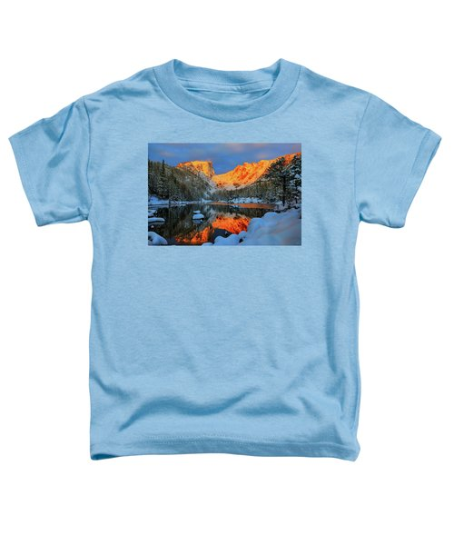 Toddler T-Shirt featuring the photograph Snowy Dawn At Dream Lake by Greg Norrell