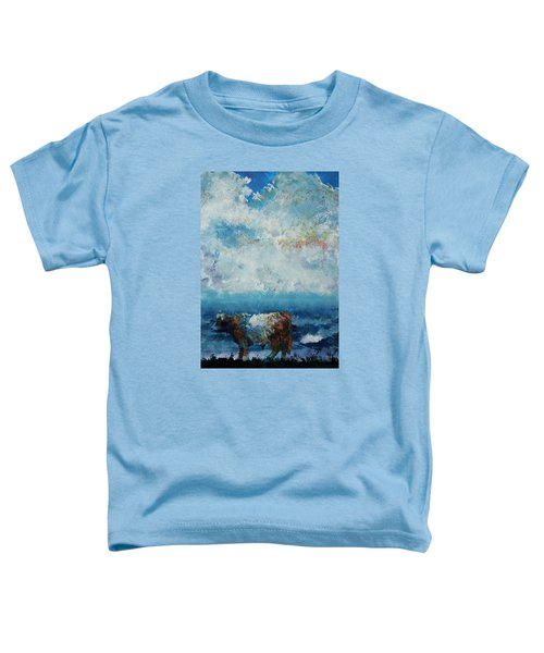 Storms Coming - Belted Galloway Cow Under A Colorful Cloudy Sky Toddler T-Shirt