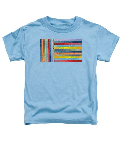 Stripes With Blue And Red Toddler T-Shirt by Michelle Calkins