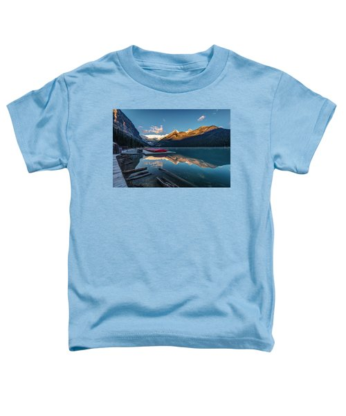 Sunrise At The Canoe Shack Of Lake Louise Toddler T-Shirt